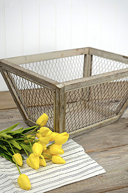 Wood Framed Chicken Wire Basket 18in