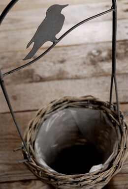 Basket with Wire Bird Hanger