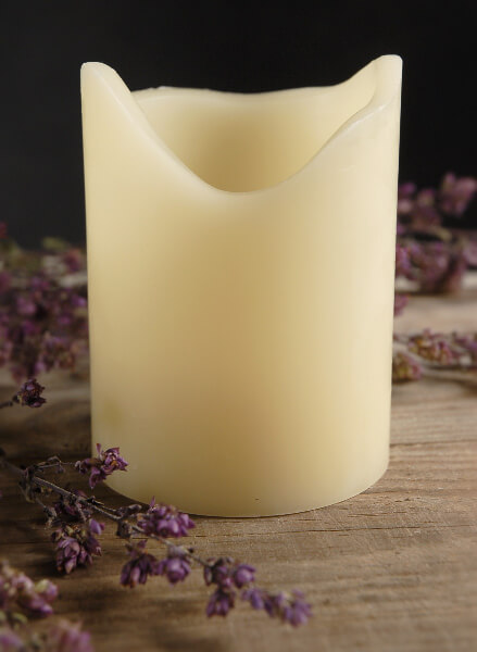 Battery Operated Pillar Candle Cream 4in