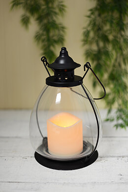 "School House Battery Operated Candle Lantern, Timer  9"" Metal & Glass"