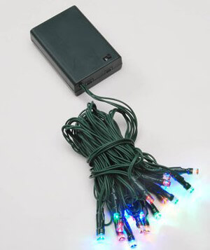 Battery Operated LED 20 Lights Multicolor Green Cord 9 Feet