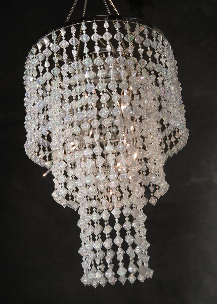Battery Operated LED Acrylic Crystal Chandelier  |  3 Tier (15in)