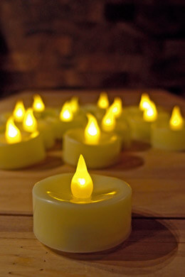 48 Flameless Tealights Battery Operated Flickering Amber LED Ivory