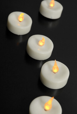 48 Flameless Tealights Battery Operated  Amber Flame - White Candles