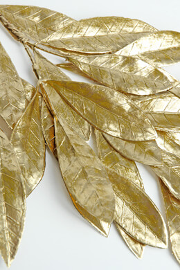 6 Metallic Gold Bay Leaf Sprays