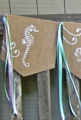 Handmade Burlap Beach Banner with Ribbons