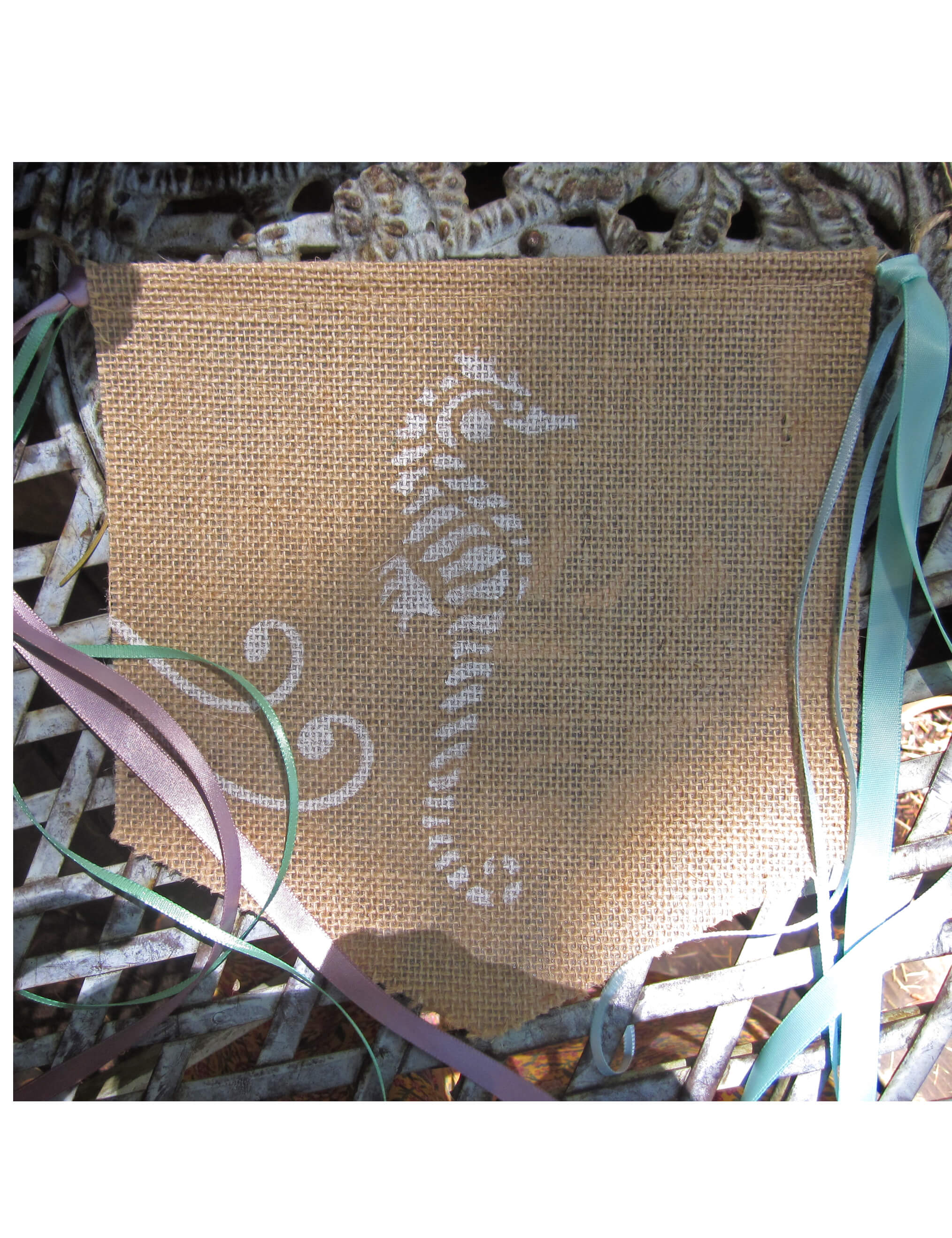 6' Burlap Silk Screened Handmade Beach Banner