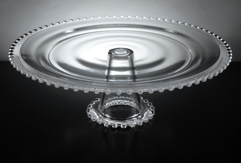 Beaded Edge Glass Cake Stand Pedestal 12in