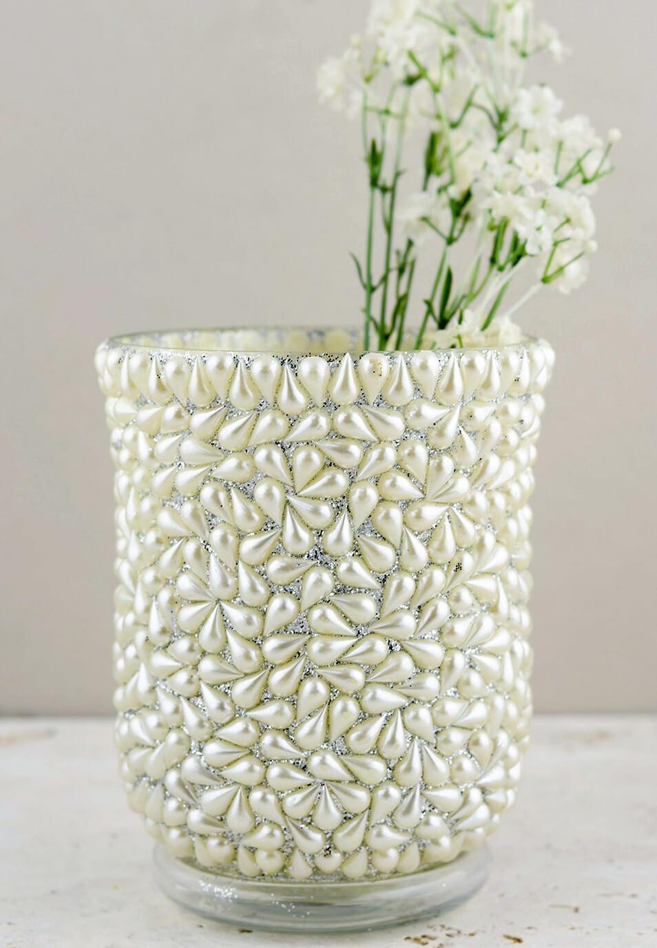 "Pearl Beaded Hurricane Vase & Candle Holder 6"""