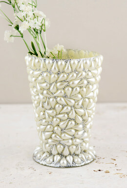 Mint Julep Pearl Beaded Vase 4.5