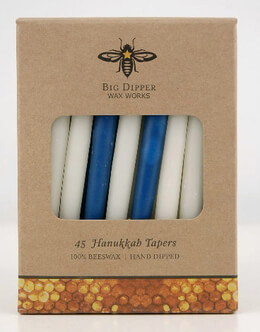 "Beeswax Hanukkah Candles Menorah 5"" Candles (45 candles/pack)"