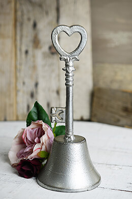 Silver Wedding Bell 8 Inch  Heart & Key Motif