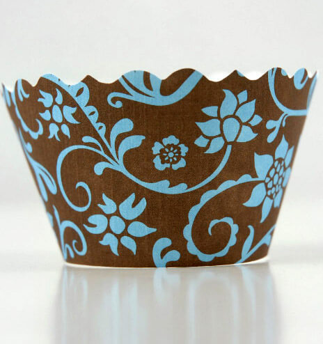 Bella Cupcake Wrappers Hanna Blue & Brown (pack of 50)