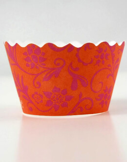 Bella Cupcake Wrappers Hannah Orange & Pink