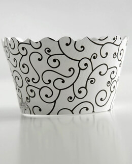 Bella Cupcake Wrappers Olivia Black & White