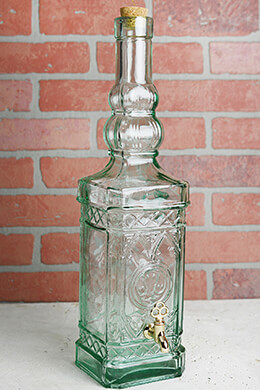 Large Glass Bottle Beverage Dispenser 18in