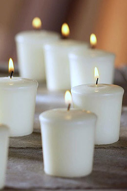 9 Unscented White Votive Candles 15hr