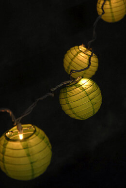"4"" GREEN Paper Lantern String Lights  (10 LANTERNS)"