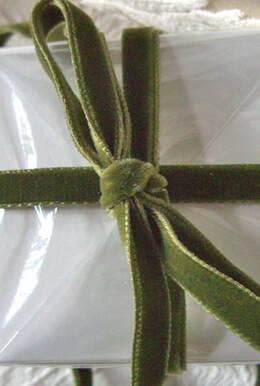 Olive Green Italian DF Velvet Ribbon   11.5ft