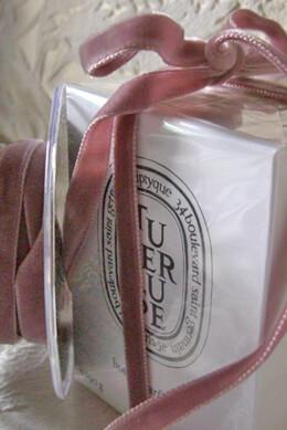 Dusty Rose Pink  Italian DF Velvet Ribbon   3/8in x 11.5 feet