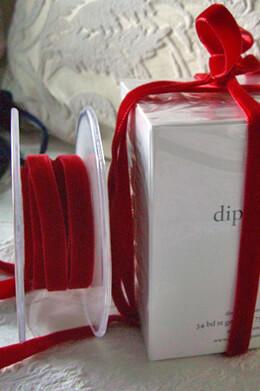 """Italian DF Velvet Ribbon Scarlet Red 3/8"""" width 11.5 feet"""