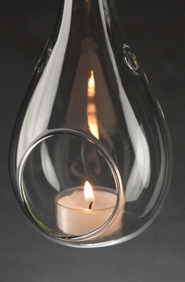 Glass Teardrop Hanging Tealight Candle Holder