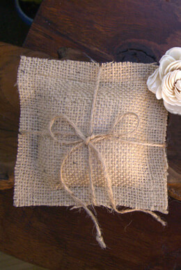 "Tiny Handmade Burlap Ring Bearer Pillow 4-3/4"" Square"