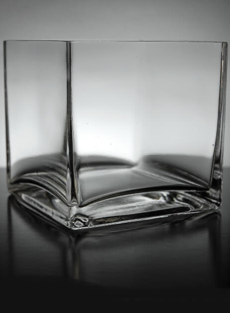 "12 Clear Glass 5"" Square Vases"