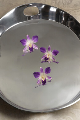 Silver Serving Tray with Handles 19.5in