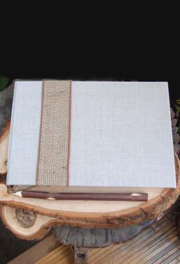 Handmade  Burlap & Linen Guest Book Registry