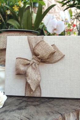 """Linen & Burlap Wedding Guestbook Handmade 7"""" x 10"""""""