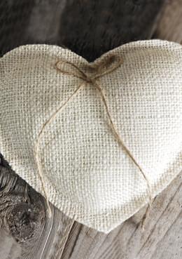 Burlap Heart Ring Bearer Pillow White