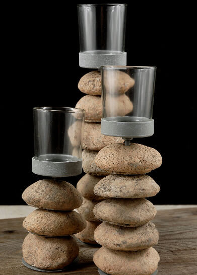 3 Natural Cairn Stone Candle Holders with Glass Votive Cup