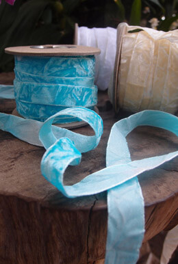"Crushed Velvet Ribbon 5/8"" Turquoise Blue 11 yards"