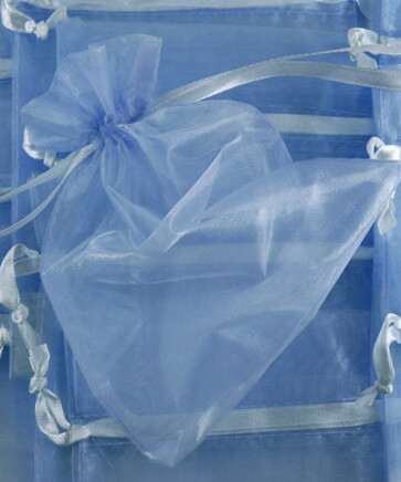 Organza Favor Bags Blue 5 X 6-1/2  set of 24
