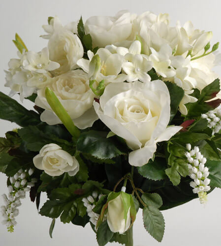 Silk Bridal Bouquets Roses, Stephanotis & Pearl Hyacinths