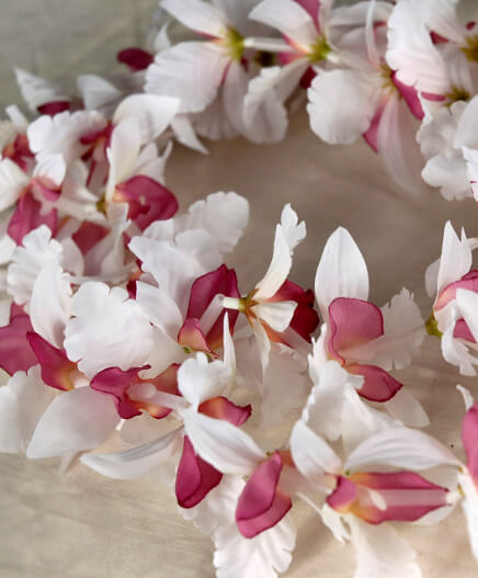 Silk Flower Leis Orchid | Cream & Burgundy  (Pack of 24)