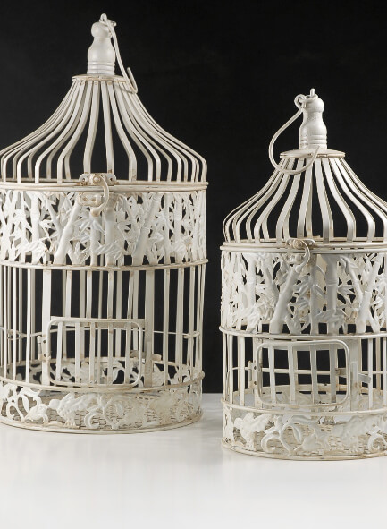 Set of 2 Round Wedding Birdcages Cream White