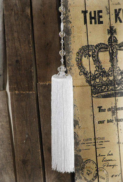 Extra Long White Lantern Tassel 14in