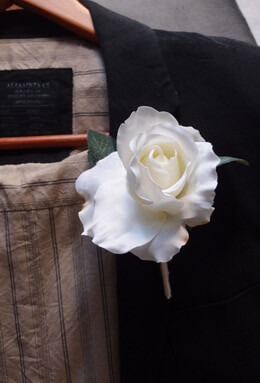 White Silk Rose Boutonniere Buttonhole