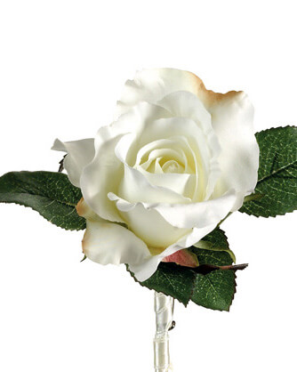 Silk Rose Boutonniere White