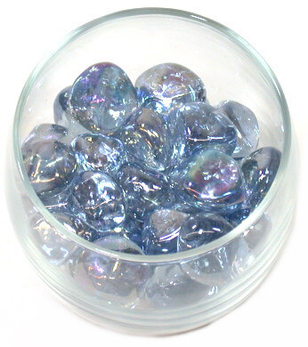 Mini Glass Diamond 20mm Glass Lustre Sky Blue Gems  (3/4 lb. pkg)