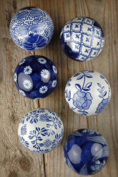 Decorative Porcelain Balls Blue & White Rosette (Set of 6)
