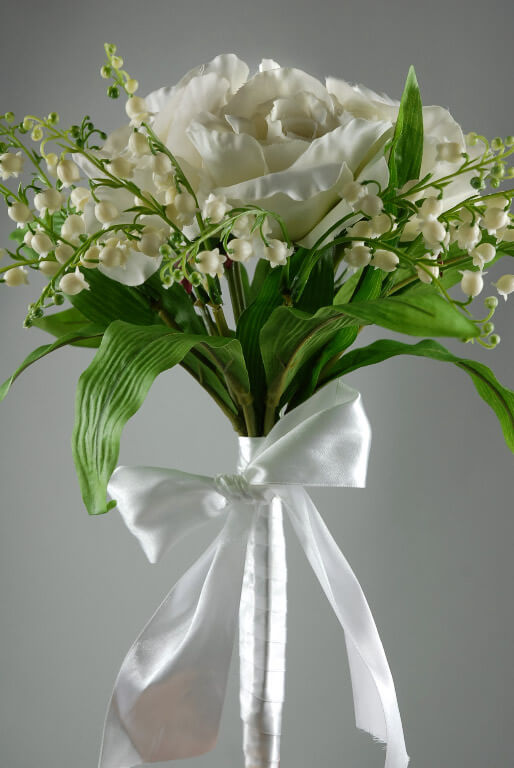 Silk Bouquets  Cream Roses & Lily of Valley 14in