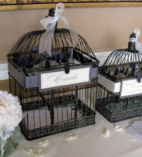 2 Black & Gold Bird Cages , Wedding Bird Cages