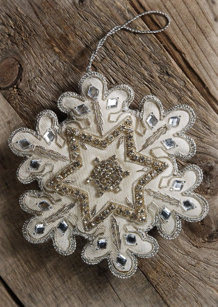 Fabric and Rhinestones Embroidered Snowflake 6 in