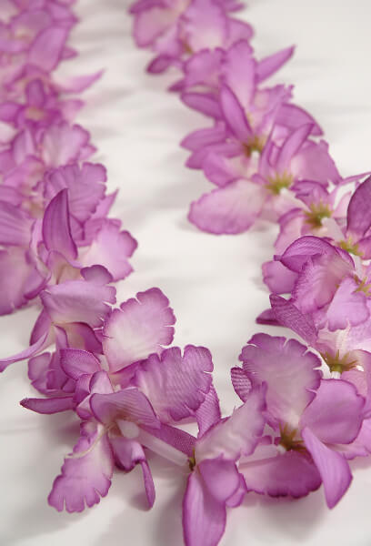 Flower Necklaces: Leis:   Pink  Silk Orchids    $2.99 each/ 24 for $2.29 each