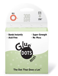 Glue Dots 3/16-Inch Mini Dot Roll, 300-Clear Dots
