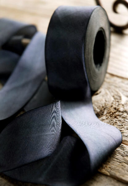 Hand Dyed Silk Ribbon Black 1.5in  wide x 38 yards
