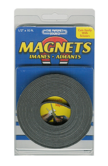 Magnets Flexible Magnetic Tape with Adhesive 1/2in x 10 ft (1 roll)